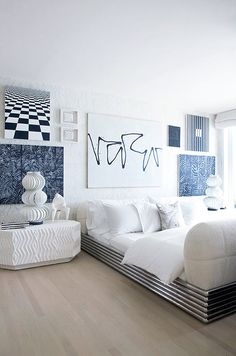 kelly wearstler's malibu beach house bedroom; sea blues, and wave-inspired shapes; an uncompromising eye.