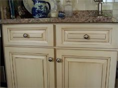I Like The Color And Antiqued Look Of These Cabinets. My Cabinets Are A  Similar. Ivory Kitchen ...