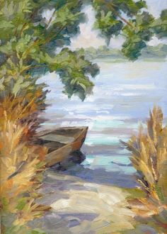 SECLUDED BOAT ON LAKE, 12x16 INCH IMPRESSIONIST OIL PAINTING by Tom Brown, painting by artist Tom Brown