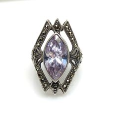 Vintage 1960s Purple Marquis Cut Synthetic Sapphire, Marcasite and Sterling Silver Thai Art Deco Reproduction Ring Size 5.75 by TheGemmary on Etsy