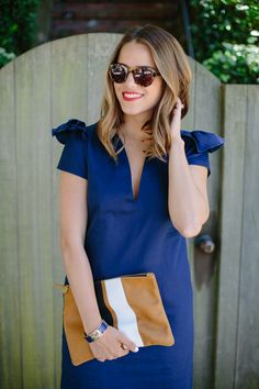 Ruffled shoulder dress. So perfect.