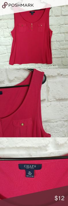 "!$5 SALE! Chaps Pink Tank Top size xL Chaps Pink Tank Top size xL in excellent used condition. Two front pockets and front button embellishment. 100% Cotton.   Waist from Seam to Seam: 20"" Length from Top: 25""  Please let me know if you have questions. Happy Poshing! Chaps Tops Tank Tops"