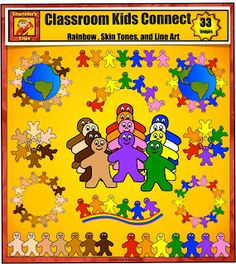 Classroom Kids Connect Clip art set is great for themes such as friendship, peace, teamwork, Earth Day, Martin King Jr. It is also good for numbers, letters, and word games. $ For more pins like this visit: http://pinterest.com/kindkids/charlotte-s-clips/