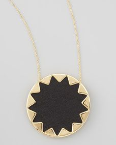House of Harlow - Sunburst Pendant Necklace, Black