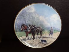 Royal Kendal plate with shire horse/plough