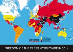 2014年の世界報道の自由ランキング。 日本は59位。  1    フィンランド 18  カナダ 46   アメリカ 57   韓国 59   日本 175 中国 179  北朝鮮  http://rsf.org/index2014/en-index2014.php…
