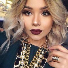 Deep autumnal lip and autumnal themed makeup