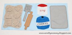 {STITCHED by Crystal: Quiet Book: Let's Bake Cookies!} I love this alternate version of the Imagine Our Life cookie page! The removable frosting is my favorite part!