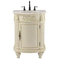 Home Decorators Collection Chelsea 26 In. W Bath Vanity In Antique White  With Marble Vanity Top In White.
