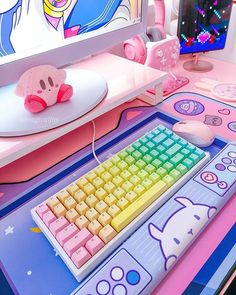 Gaming Room Setup, Pc Setup, My Mini Mixieqs, Kawaii Bedroom, Cute Bedroom Decor, Cute Room Ideas, Tumblr Rooms, Game Room Design, Indoor Swimming Pools