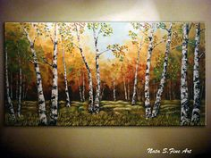 "Landscape ORIGINAL Painting Abstract Contemporary.Palette Knife.Textured.Birches Forest,Trees,Fall,Autumn Painting 48""..... by Nata S."