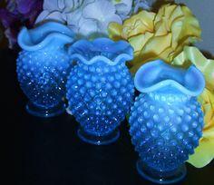 Vintage Blue Fenton Hobnail Vases