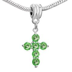 Pugster Cross Peridot Crystal August Birthstone Dangle Beads Fit Pandora Chamilia Biagi Charm Bracelet Pugster. $8.49. Unthreaded European story bracelet design. Hole size is approximately 4.8 to 5mm. Measures 9mm X 14mm. Compatible with Biagi, and Chamilia beads. Pugster are adding new designs all the time Show Less