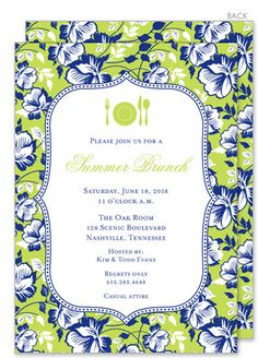 Blue Floral on Green Invitations