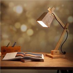 Moderne Tischleuchte Holz Design mit Schwenkbarem Arm