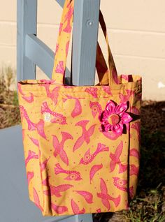 Tote 100% cotton delicious sherbet and magenta colors with intricate bird design. by PuppyPawzBoutique on Etsy