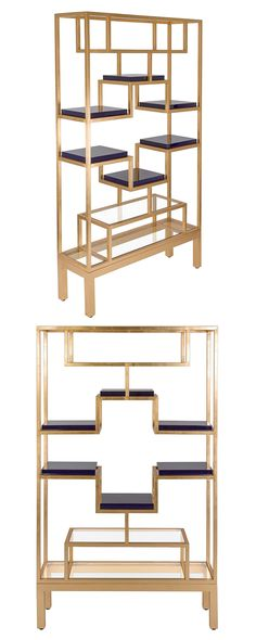 Non-linear is the new black. With its unexpected and wonderfully architectural design, this gorgeous gold-finished Roman Étagère will prove a standout showcase in any contemporary space. This glamorous...  Find the Roman Étagère, as seen in the Raw and Edgy Glam Collection at http://dotandbo.com/collections/raw-and-edgy-glam?utm_source=pinterest