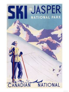 Jasper National Park, Canada - Woman Skiing - Vintage Travel Poster (Art Prints, Giclees, Posters, W Canada National Parks, Jasper National Park, Ottawa, Vintage Ski Posters, Vintage Prints, Retro Vintage, Fine Art Posters, Canvas Prints, Art Prints