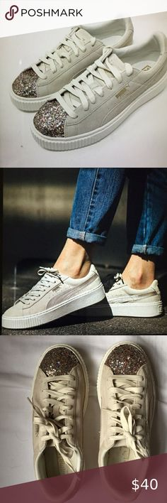 Great Puma Suede Platform Trace WNs Rock Ridge Marshmallow