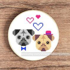 Pugs in love - PDF counted cross stitch pattern - Dog portrait - Modern cross stitch @Liz Humpage