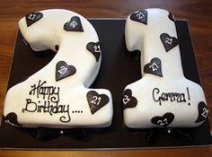 Black & white numbers 21st birthday cake