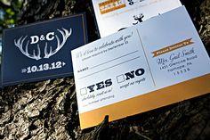 Deer & Antler Wedding Invitation by icandothatdesign on Etsy, $35.00