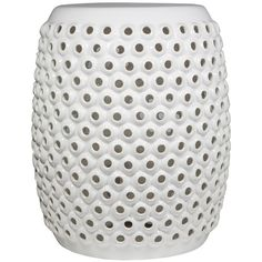 White Pierced Garden Stool ($88) ❤ liked on Polyvore featuring home, outdoors, patio furniture, outdoor stools, white garden stool, outdoor garden stool, outdoor garden furniture and outdoor patio furniture