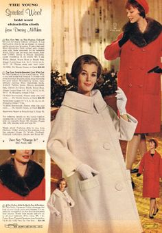 60's wool coats with optional opossum fur collar, say what?