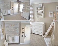 Room Brown Nursery, White Nursery, Nursery Neutral, Nursery Room, Girl Nursery, Baby Boy Rooms, Baby Room, Triplets Nursery, Tan Walls