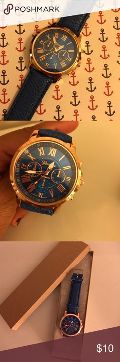 Blue Geneva Watch Brand New PRICE IS FIRM or 2 for $15. 💙COMES WITH KEEPSAKE BOX 📦 Case material: alloy; Band material: leather Watch case diameter(cm): approx 3.9; Band length(cm): 22.5 Movement: quartz; Display: analog 3 small sub-dials can not work, just for decoration, not functional Product Information Product Dimensions3.9 x 1.2 x 0.4 inches Item Weight11.2 ounces Geneva Accessories Watches