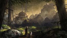 Forest Village by Vablo on DeviantArt Forest village Fantasy concept art Fantasy art