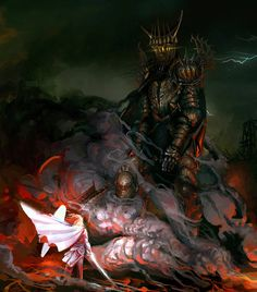 Fingolfin, the high elven king, rode to Angband to fight the original Dark Lord Morgoth one on one. Even though this lead to Fingolfin's death, he was able to injure Morgoth seven times causing Morgoth to never underestimate the power of the Eldar again. Gandalf, Legolas, Das Silmarillion, Morgoth, Necromancer, Armadura Medieval, Into The West, Jrr Tolkien, Dark Lord