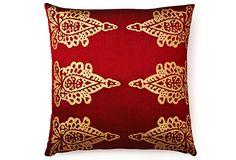 Pasha Khari 20x20 Pillow, Red/Gold on OneKingsLane.com