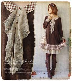 Mori Girl Vintage Japanese Sweet Long Sleeve Kawaii Preppy Style Lolita Dress - Ideas of Lolita Dress Cheap Dresses, Elegant Dresses, Girls Dresses, Moda Mori, Moda Harajuku, Harajuku Girls, Harajuku Style, Style Lolita, Moda Formal