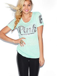 Bling Crewneck Tee PINK  JF-279-232 (886) Broken-in softness meets a perfect slouch with a hit of sparkly bling—you definitely need to add this perfect tee to your closet. Must-have tees by Victoria's Secret PINK. Fitted Bling graphics Imported cotton/polyester