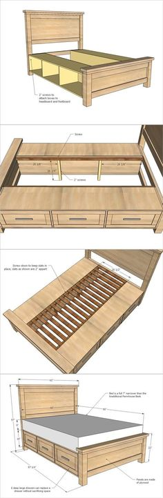 How To Build A Farmhouse Storage Bed with Drawers #furniture #bed #space-saving Blueprints & Materials List Save time and money! Our custom designs and detailed blueprints means you stop wasting your hard earned cash on wrong wood, wrong materials and wro
