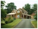 Conservatory and 3 bay covered entrance to front of house Roof Styles, House Styles, Oak Framed Extensions, Oak Framed Buildings, Oak Frame House, Lean To, House Front, Walkway, Entrance