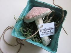 Lavender scented mushroom sachet from Chez Sucre Chez's etsy shop for $9 ... so cute!