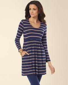 Soma Intimates Soft Jersey 3/4 Sleeve Scoop Neck Tunic Sunrise Stripe #somaintimates