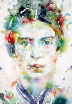 EMILY DICKINSON - watercolor portrait Art Print-- Society6 by LAUTIR
