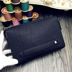 Free Shipping!2016 Hermes Outlet With Free Shipping-Hermes Classic Zippy Pouch For Men in Noir Togo Leather