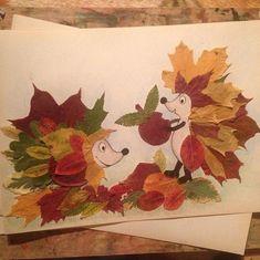 Őszi falelevelekből állatkák - How To Make Things Autumn Crafts, Fall Crafts For Kids, Autumn Art, Nature Crafts, Toddler Crafts, Preschool Crafts, Diy For Kids, Leaf Animals, Hedgehog Craft