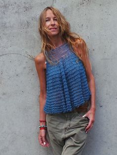 azul chaleco azul tanque de algodón floja blusa de punto