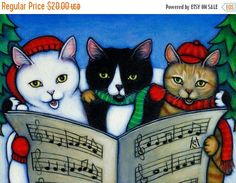 HOLIDAY SALE 5 Assorted Cat Art blank Christmas cards