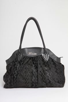 Tomassini Limited Edition Italian Leather and Fur Zig Zag Everyday Bag