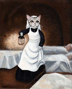 Florence Catingale - Original Nurse Cat Folk Art Painting by KilkennycatArt (Ryan Conners)