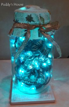 DIY Christmas Decorations - Blue lights in mason jar with fabric and ribbon