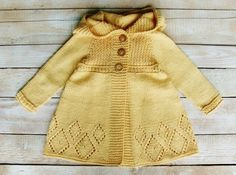 Toddler Girls Clothes - Soft Yellow Cotton Hooded Sweater Jacket Hand Knitted for Little Girls Size 2T to 3T - Baby Girls Cardigan
