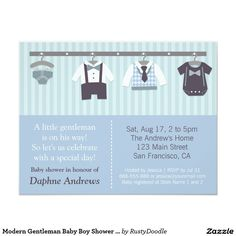 Modern Gentleman Baby Boy Shower Invitations