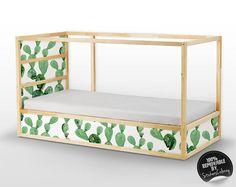 Decals voor Kura Bed, Ikea, Opuntia Cactus Sticker Set, PACK van 5, aquarel, cactussen, exotische sticker voor kinderbedje, herbruikbare #21 K